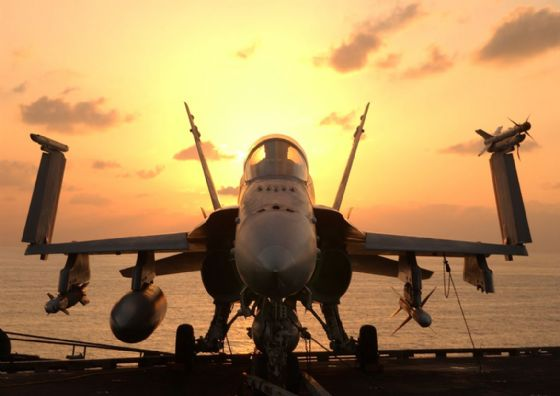 F-A-18 Hornet With Weapons Ready for Mission. US Military Aircraft Print/Poster. Sizes: A4/A3/A2/A1 (003976)